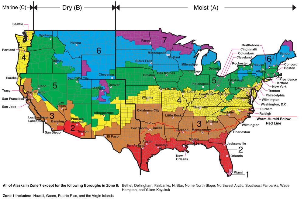 Climate Zones Map ASHRAE CLIMATE ZONE MAP   iaqsource.com