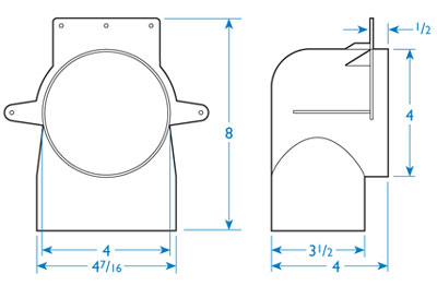 Fantech Low Profile Elbow For 4 Duct Fel4